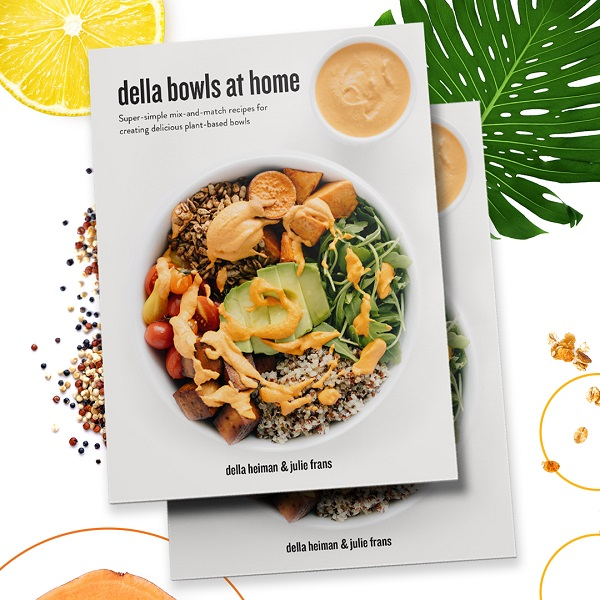 cover of della bowls at home cookbook shows a colorful bowl layered with grains, vegetables, seeds and the delicious Red Sauce